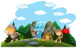 Camping kids camping in nature vector illustration