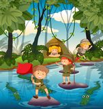 Camping kids in the nature vector illustration