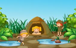 Camping kids in nature vector illustration