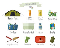 Camping with kids. Tips. Set of flat adventure. Traveling elements and symbols with text signs. Summer Outdoor design. Campsite and campground. Vector Stock Photos