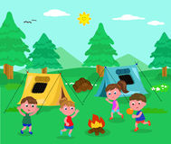 Camping kids vector. Boys and girl with tents camping in wood, vector illustration royalty free illustration