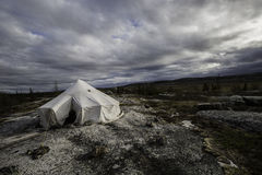 Camping in kuujjuaq. Campaing and trekking in the tundra of kuujjuaq in nunavik with nuit people, Québec, Canada Royalty Free Stock Photo