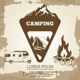 Camping label, bonfire and travel bus. On vintage backdrop. Vector illustration Stock Photo