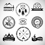 Camping labels set. Royalty Free Stock Photography