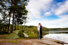 Camping by Lake Royalty Free Stock Photo