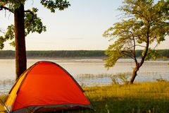 Camping by the lake Royalty Free Stock Image