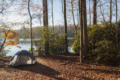 Camping by the lake. Camping tent in the woods by the lake Stock Image