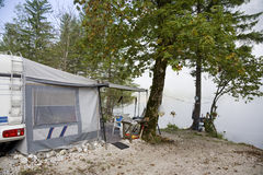 Camping by Lake Bohinj Stock Photos