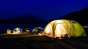 Camping at Lake Shoji with mt. fuji view. At night, Yamanashi Prefecture, Japan royalty free stock images