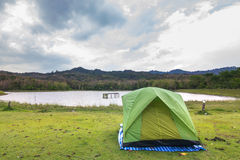 Camping with lake and sky Royalty Free Stock Photo