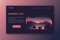 Camping landing page vector template royalty free illustration