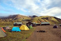 Camping in Landmannalaugar, Iceland. Stock Photo