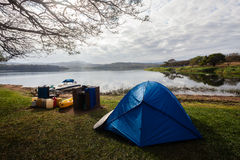 Camping Landscape Dam Stock Photo