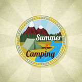 Camping landscape with tent and bonfire, retro Stock Image