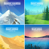 Camping Landscapes 4 Flat Icons Square Stock Photo