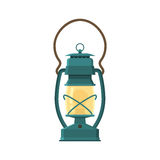 Camping Lantern or Gas Lamp. Vintage camping lantern on white background. Retro gas lamp with glowing fire wick. Rustic tourist oil lantern vector illustration stock illustration