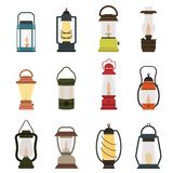 Camping lantern oil lamp vector collection. Modern retro lanterns illustration handle gas lamps for tourist hiking. Flame glow camp fuel burn Stock Image