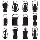 Camping Lantern Silhouettes. Camping lantern silhouette set  on white background. Different oil lamp outline collection. Modern and retro lanterns flat vector Stock Images