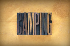 Camping Letterpress Royalty Free Stock Photography