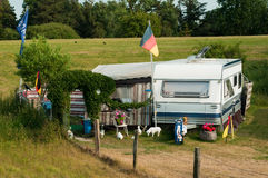 Camping life. Camping with caravans in Germany Stock Image