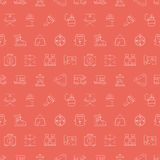 Camping line icon pattern set Royalty Free Stock Image