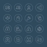 Camping line icon set Royalty Free Stock Photography