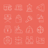 Camping line icon set Royalty Free Stock Image