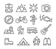 Camping line icons Stock Photos