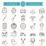 25 Camping Line Icons. Set Royalty Free Stock Photos