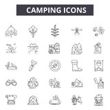 Camping line icons for web and mobile design. Editable stroke signs. Camping  outline concept illustrations stock illustration