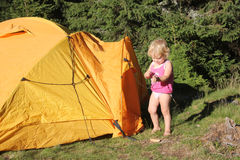 Camping little girl Royalty Free Stock Images