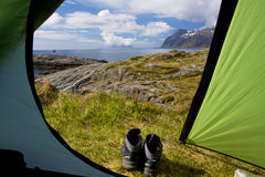 Camping on Lofoten Royalty Free Stock Images