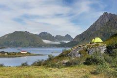 Camping on Lofoten archipelago, Norway Royalty Free Stock Photo