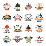 Camping logo badges and travel template hand drawn emblems vector illustration. stock illustration
