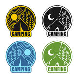 Camping logo day and night. Landscape with tent and forest. Embl. Em Accommodation in camp. Sun and moon. Fire at booth Stock Photos