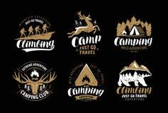 Camping, logo de hausse ou emblème Hausse du voyage, ensemble de label s'élevant Vecteur de vintage illustration de vecteur