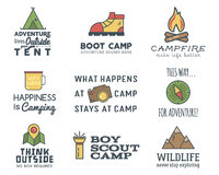 Camping logo design set with typography and travel elements  Stock Photography
