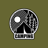 Camping logo. Emblem for accommodation camp. Landscape with tent Royalty Free Stock Images
