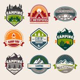 Camping. Logo, labels and badges. Travel emblems Stock Images