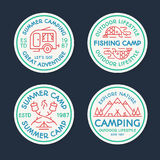Camping logo set color line consisting of tent, fish, fire, camp. Camping logo set color line style consisting of tent, fish, fire, camper, mountains, trees for Stock Photography