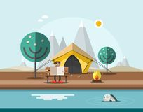 Camping with Man on Bench in front of Tent. Reading Newspapers with Fish on Lake on Foreground and Mountains on Background. Nature landscape Vector Flat Design royalty free illustration