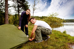 Camping Man and Woman Royalty Free Stock Photos