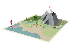 Camping map. Mountain hiking Royalty Free Stock Images