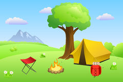 Camping meadow summer landscape day tent campfire tree illustration Royalty Free Stock Image