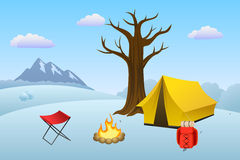 Camping meadow winter landscape day tent campfire tree illustration Stock Photo