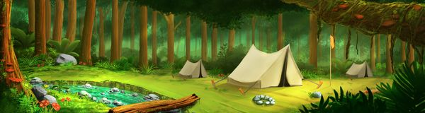 Green tropical forest with tent, river, landscape digital illustration Royalty Free Stock Image