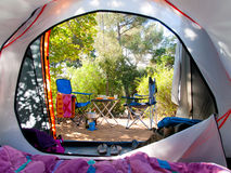 Camping in the middle of the woods Royalty Free Stock Photo