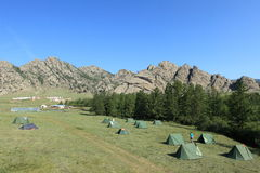 Camping in Mongolia Royalty Free Stock Photo