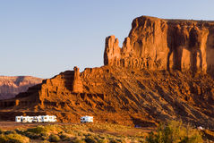 Camping in Monument Valley. Recreational vehicles camping in Monument Valley Royalty Free Stock Images