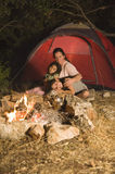 Camping mother and daughters royalty free stock photography
